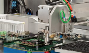 Close-up of part of chip testing robot.