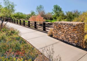 Bridge with stacked stone abutments and fall colors
